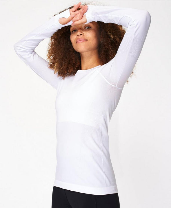 SWEATY BETTY ATHLETE SEAMLESS LONG SLEEVE TOP - WHITE