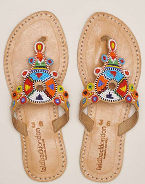 LAIDBACK LONDON SIMBA FLAT SANDAL- LIGHT BROWN W/ TRIBAL BEADING