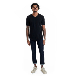 GOODLIFE MENS SLUB SCALLOP V-NECK TEE- BLACK