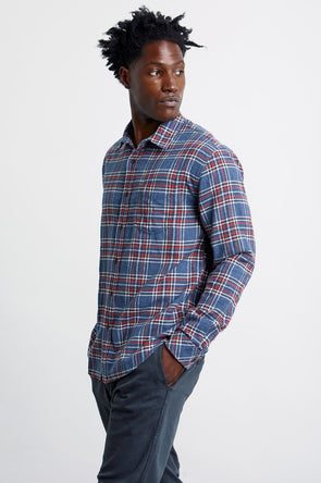 RAILS MEN'S SUSSEX SHIRT - MIDNIGHT/BRICK/CREAM
