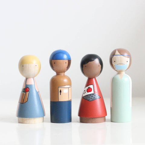Essential Workers Wooden Peg Doll Set
