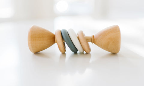 Classic Wood Rattle - Grey