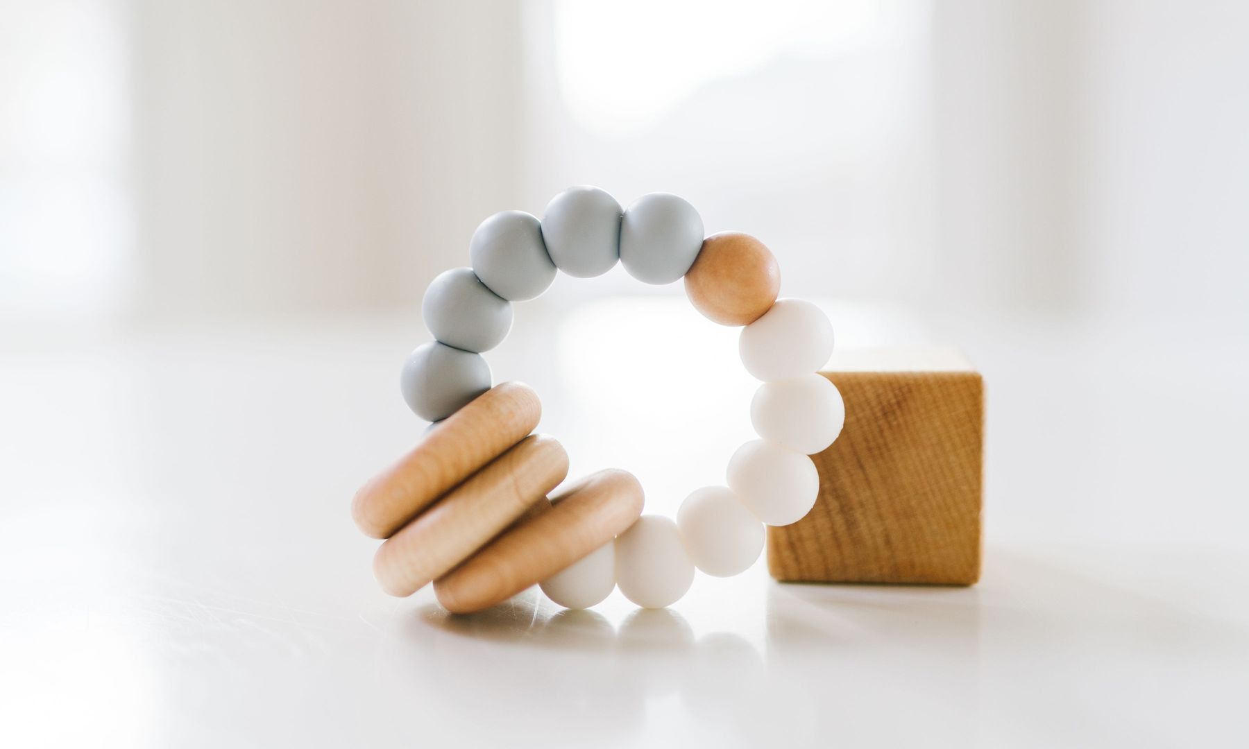 Classic Wood and Silicone Teether - Stone