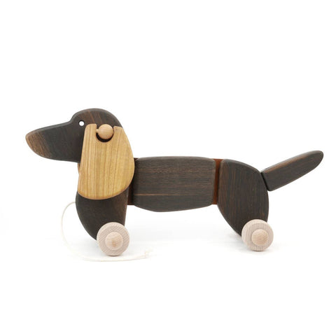 Wooden Dachshund Puppy Push Toy (Large)