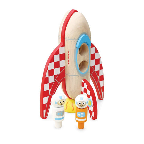 Retro Wooden Rocket + Astronauts