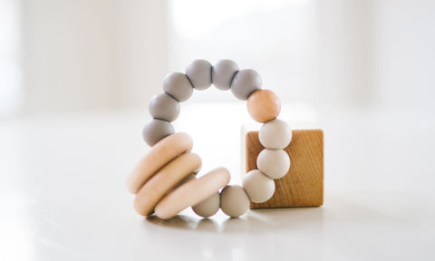 Classic Wood and Silicone Teether - Sand