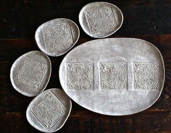 Stoneware Serving Platter set in white matte speckled