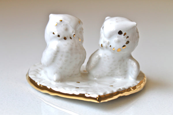 Owl Couple Wedding cake Topper in white with 23K gold