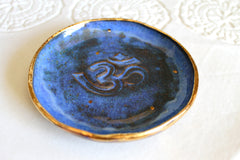 Om Ring dish in Aztec Blue and 22k Gold
