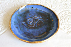 Om Ring dish in Aztec Blue with 22k gold