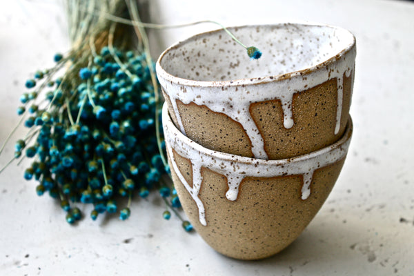 Dripping and Speckling stoneware narrow cup
