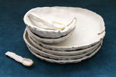 Textured Porcelain Serving plates in white matte and 22k gold