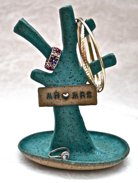 Tree Of Life Mr. and Mrs Jewelry Holder in Turquoise Matte