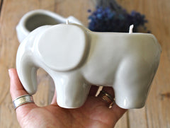 2 Wick Scented Soy candle in Light Grey Elephant planter