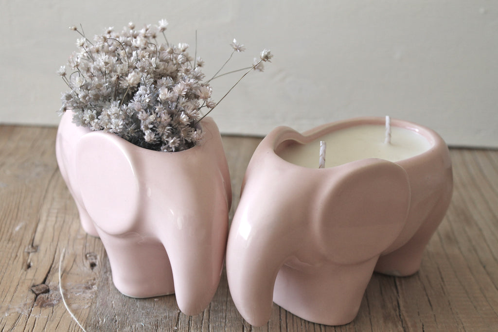 2 Wick Scented Soy candle in Pink Elephant planter