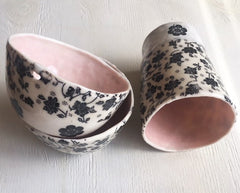 Hand Pinched Porcelain Bowl with heart cut out