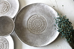 Set Of 4 Hand shaped Pottery Plates and bowl in Speckled white matte