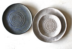 Set Of 3 Handmade Pottery Plates-  Organic Speckled white matte and Aegean Washed Blue