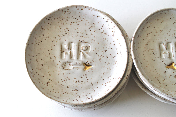 Mr. and Mrs Ring Dish in Speckled White and 22k Gold accent
