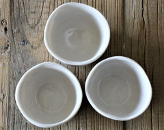 One shot mini espresso cups set of 3- Sake cups - 1/3 cup (79ml) - Porcelain Espresso Cups- Pottery Sake cups