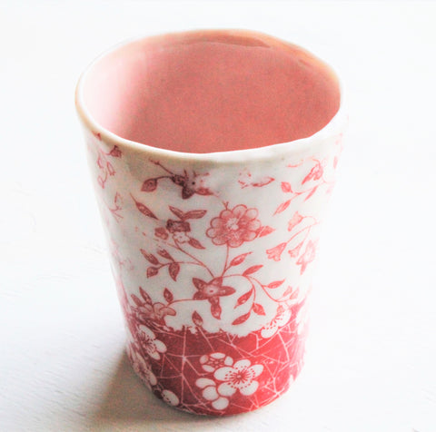 Hand pinched Porcelain tall cup #1