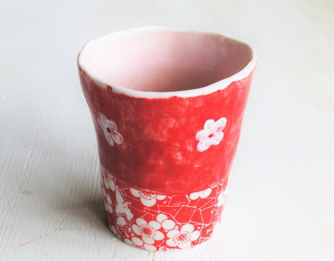 Hand pinched Porcelain tall cup #4
