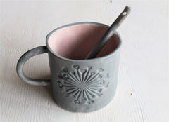 Heart Burst Mug Washed Gray Matte and rose