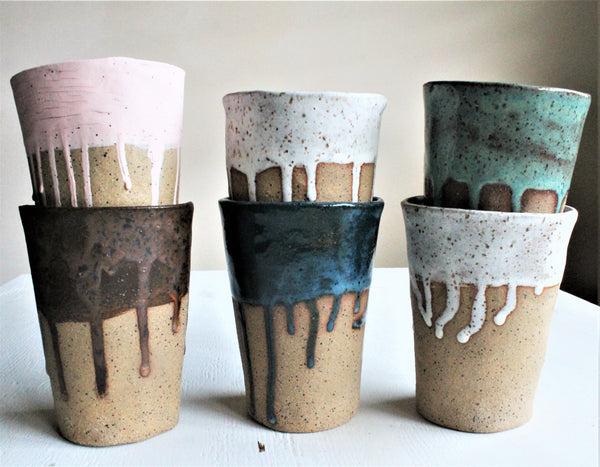 Dripping and Speckling Stoneware tumbles