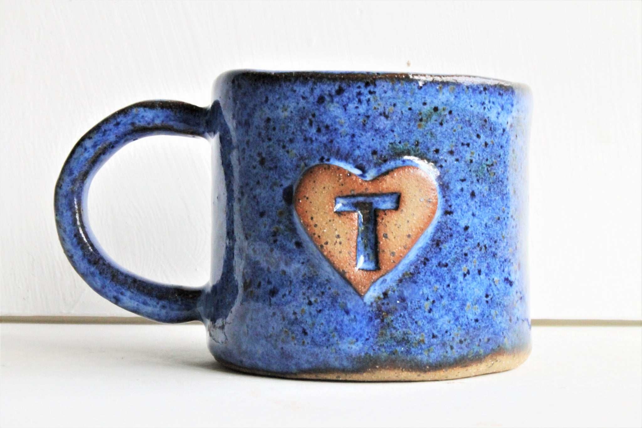 Monogram cup-Personalized Stoneware Cup  - Aztec Blue - 16 oz