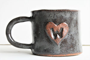 Monogram cup-Personalized Stoneware Cup  - Steal brown - 16 oz
