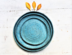 Set Of 3 Handmade Pottery Plates- Turquoise matte Organic Shape Textured Dinnerware set -Blue Stoneware Plates -Stoneware Dinnerware Plates set -
