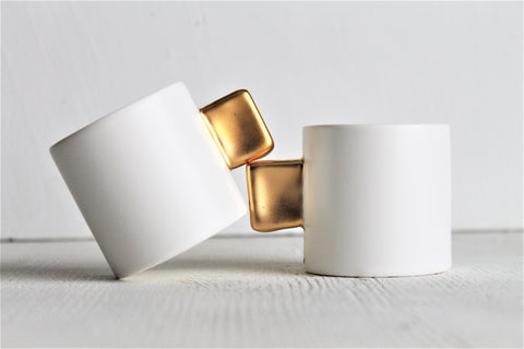 Set for 2 - Mini Espresso Cups - Satin - 23k Gold - 3 oz