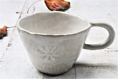 Stoneware Lace textured cup  in creamy white- 8oz