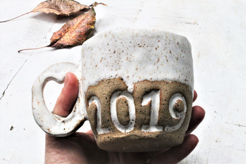 Stoneware 2019  Dripping and speckling cup  in creamy white- 14oz