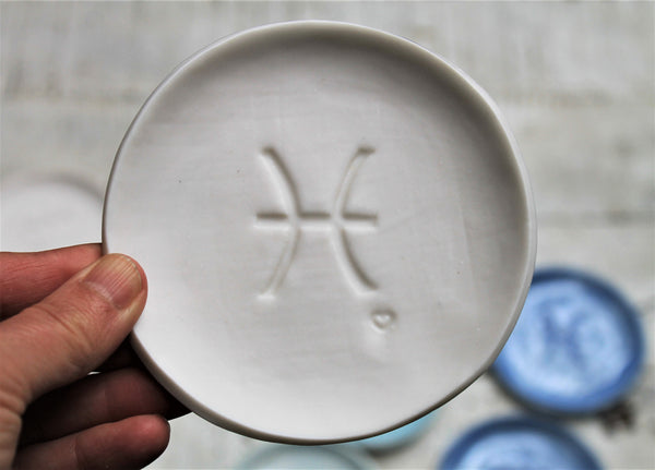 Porcelain Zodiac Sign Dish- Pottery Astrological Sign- Ceramic Dish Zodiac Sign
