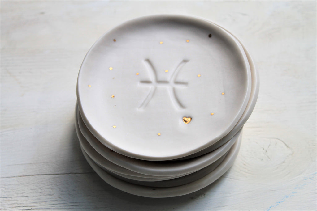 Porcelain Zodiac Sign Dish- with a touch of 23K Gold