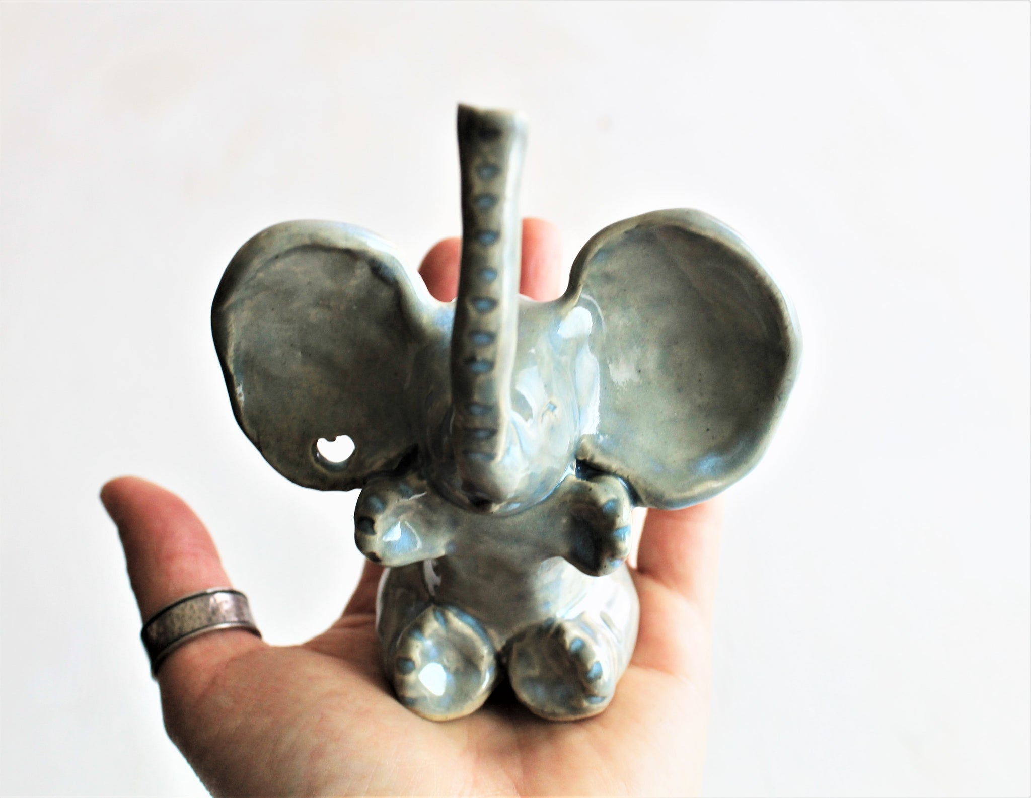 Handmade Stoneware Elephant Ring Holder- Unique wedding gift - Engagement ring holder- Happy Lucky Elephant Home Decor