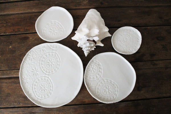 Lace texture Porcelain plates set of 4