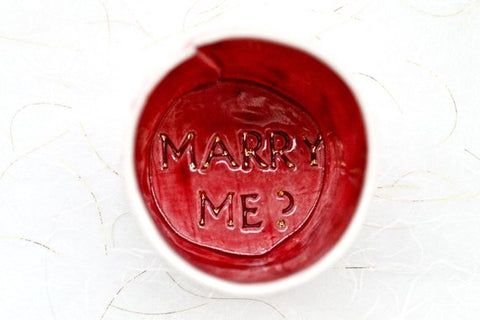 Marry Me? - Proposal in a small cup - cherry blossom