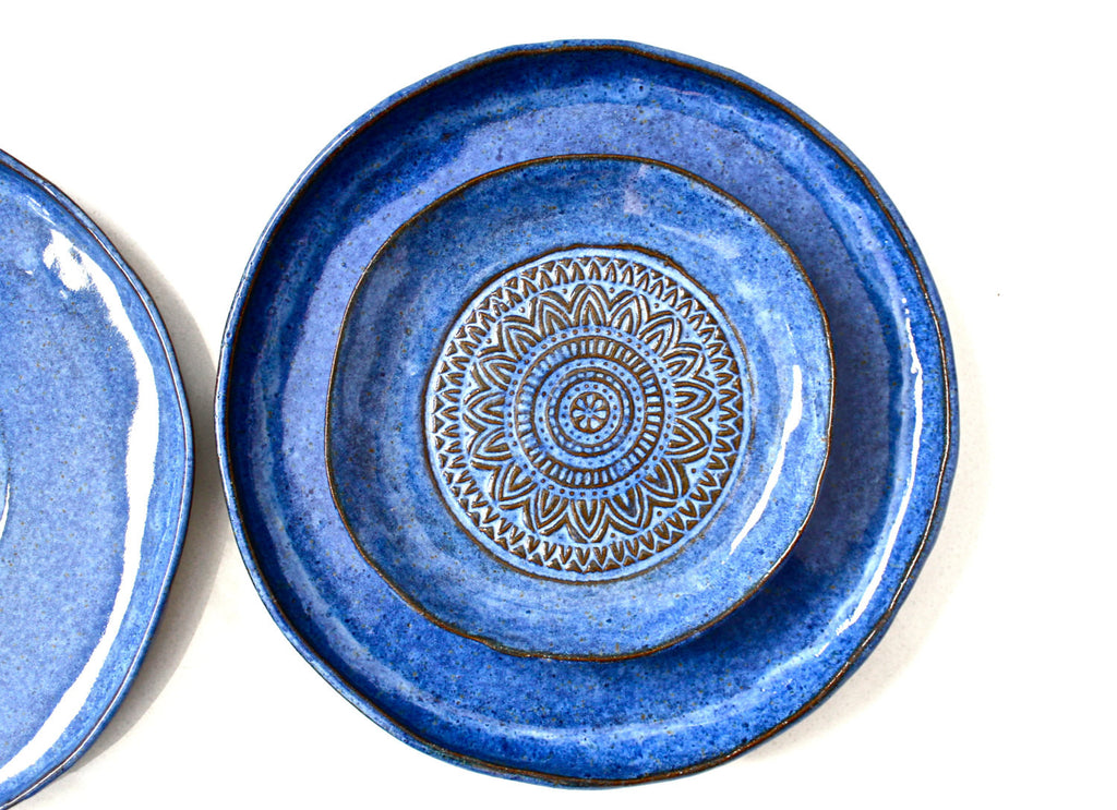 Set Of 3 Handmade Pottery Plates- Aztec Blue Organic Shape Textured Dinnerware set -Blue  sc 1 st  Malenka Pottery Shop & Set Of 3 Handmade Pottery Plates- Aztec Blue Organic Shape Textured ...