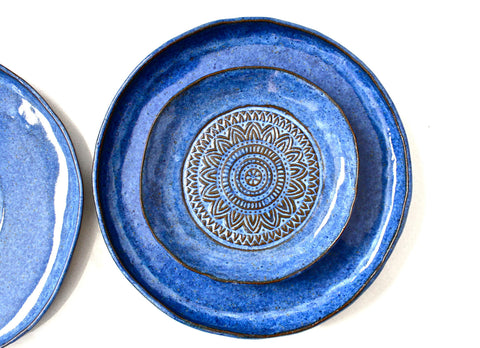 Set Of 3 Handmade Pottery Plates- Aztec Blue Organic Shape Textured Dinnerware set -Blue Stoneware Plates -Stoneware Dinnerware Plates set -