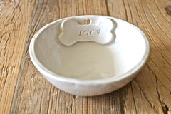 Personalized Dog Bowl - Handmade Ceramic Dog Bowl - Personalized Stoneware Bowl for Dog with bone and heart cut out - Made to order Pet Bowl
