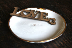 Love ring holder with 22k gold - White Ring Dish with Genuine Gold. white Jewelry Holder 22k Gold finish.
