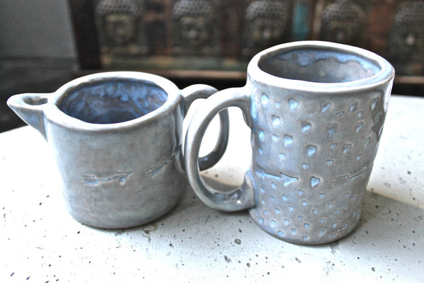 In Stock! Handmade Pottery Mug with hearts and arrows all over with small picher set - Ceramic Coffee Mug - Ceramic Tea cup and pitcher
