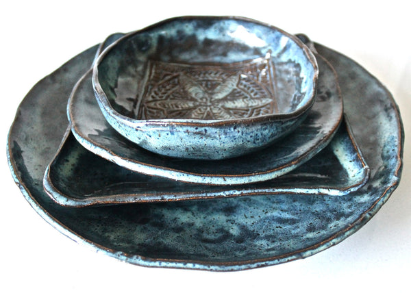 In Stock Stoneware dinnerware set- Blue Pottery serving set- Handmade Ceramic set- Blue pottery dishes- pottery wedding gift