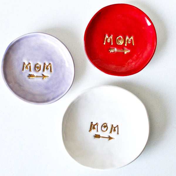 MoM Ring Dish! Customized Ceramic Dish-ring holder-Ring Dish with 22k genuine gold finish - Gift for Mom - Mom Ring holder