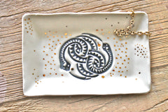 In Stock! Snake Ring dish - Cobra Ring Holder - Handmade jewelry holder - Rectangle ring dish with 22k gold finish