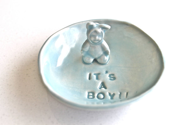 It's a Boy!! Ceramic Baby Gender Announcement - Pottery Pregnancy Announcement - It's a Boy ring dish in Blue Lagoon - baby shower gift