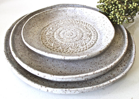 Set Of 3 Handmade Pottery Plates-Speckled white matt Organic Shape Textured Dinnerware set-Stoneware Plates -Stoneware Dinnerware Plates set