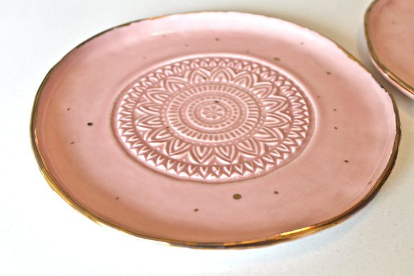 Porcelain Dessert Plate with 22K Gold & Dots - Handcrafted Pottery Small Plates in Rose with genuine Gold Dots - Textured plate in Rose
